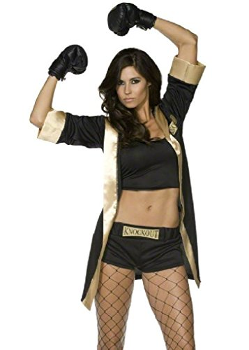 [Ponce Boxing Champion Costume Black/Gold Boxer Robe Outfit Gloves Shorts] (Womens Boxing Costumes)