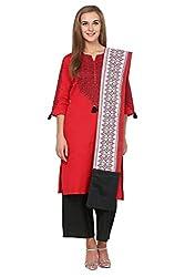Trishaa by Pantaloons Women's Straight Churidar Kurta Dupatta ( 205000005645175, Red, Medium)