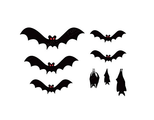 8 Bats Decals Stickers Halloween Removable Bat Wall Art Peel And Stick(Black|) (Alice Window Decal compare prices)