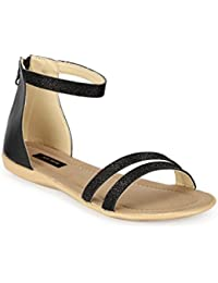 Faux Leather/ Synthetic Black Sandal Flat