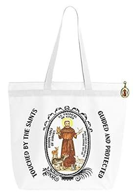 saint francis of assisi patron of animals big zipper tote shoulder bag with bronze art clip. Black Bedroom Furniture Sets. Home Design Ideas