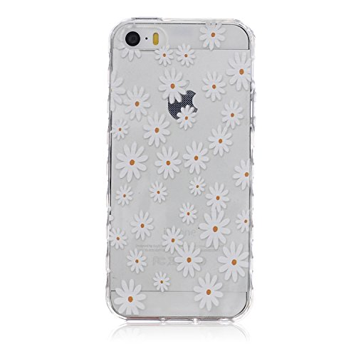 iPhone 5S Cover Daisy,iPhone 5 Cover in TPU,iPhone 5 Cover Bianco,Custodia per iPhone SE,URFEDA 2016 Neo Disegni Sollievo Toccare Urto Marvel Belle Particolari White Flower Daisy TPU Gel Silicone Ultra Slim Light Sottile Soft Morbida Protettivo Cover Case Custodia per iPhone 5/5S/SE
