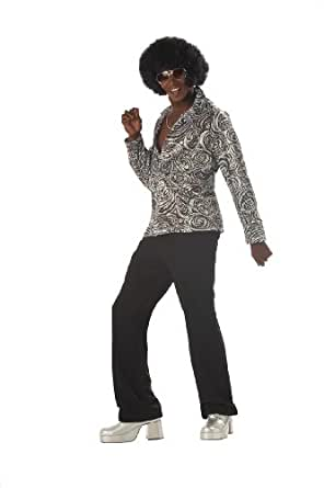 California Costumes Men's Groovy Disco Shirt,Silver,Large Costume