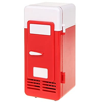 ThreeH New Mini Red USB Fridge Cooler Beverage Drink Cans Cooler/Warmer Refrigerator for Laptop PC Computer