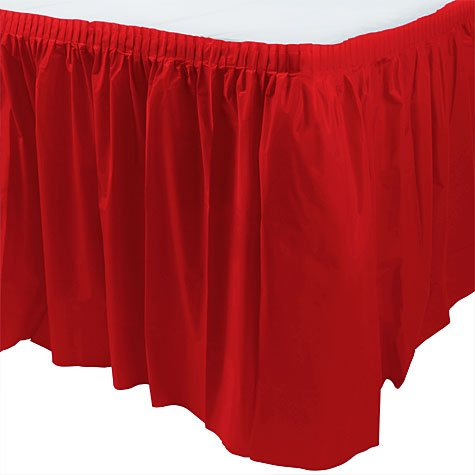 Plastic Table Skirts - 13 Colors Color: Red
