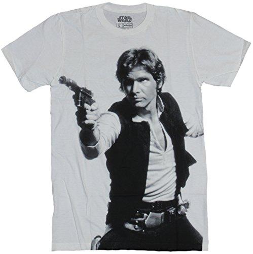 Star Wars Mens T-Shirt - Han Solo Shot First Full Size Gun Drawn Photo Image (Large) White