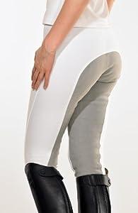 PFIFF Pantalon d'équitation fond de peau gris pour femme Blanc 36