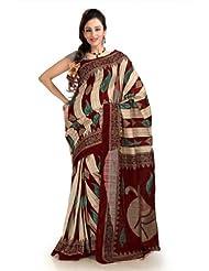 Designersareez Women Bhagalpuri Silk Printed Multicolor Saree With Unstitched Blouse(1125)