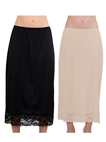 Under Moments Maxi, Half Slip 32″ with All Around Lace Combo Pack (BLK-NUD,L)