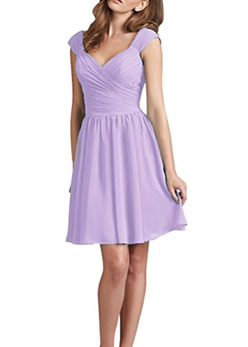 Huafeiwude Women's Knee Length Chiffon Bridemaid Cocktail Party Dresses Lavender US 14