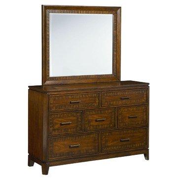 Standard Furniture Avion 7 Drawer Dresser w/ Mirror in Cherry & Walnut