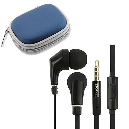 Ikross In-Ear 3.5Mm Noise-Isolation Stereo Earbuds With Microphone (Black / Black) + Blue Accessories Carrying Storage Eva Case For Elocity A7 Tablet; Tablet Cellphone Smartphone And Mp3 Player