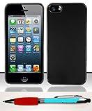 Accessory Factory(TM) Bundle (the item, 2in1 Stylus Point Pen) iPhone 5 (AT&T Sprint Verizon Cricket) Aluminum Back Case Cover Protector - Black AL