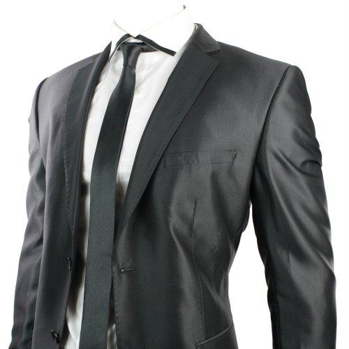 Mens Black Shiny Slim Fit 2 Button Wedding Party Suit Blazer & Trouser