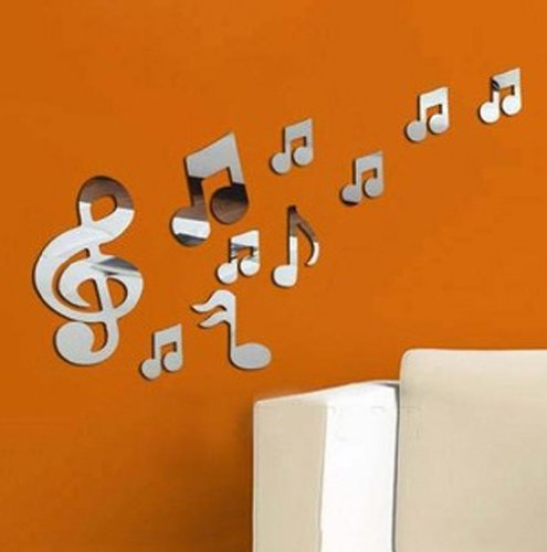 Toprate(Tm) Musical Notes Music Note Modern Stylish Fashion Art Design Removable Diy Acrylic 3D Mirror Wall Decal Wall Sticker For Bedroom Sitting Room Home Decoration
