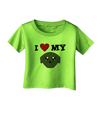 Tooloud I Heart My - Cute Pug Dog - Black Infant T-Shirt - Lime Green - 18Months