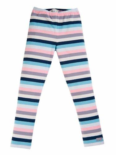 Cotton People organic Baby - Mädchen Legging Leggings aus 100% Bio-Baumwolle M13, Gr. 74 (6-9 m), Mehrfarbig (Ringel grau-blau-rosa)