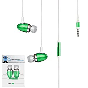 Green Premium 3.5mm Aluminium In Ear Stereo Wired Headset Hands Free Headphones with Built in Mic Microphone and On Off Button For Acer BeTouch E120