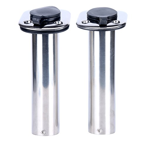 (2x) Amarine-made 15 Degree ROD Holders Stainless Steel Rubber Cap, Liner, Gasket (Boat Rod Holders Stainless Steel compare prices)