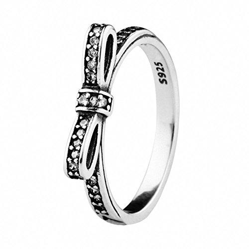 TAOTAOHAS Antico S925 Argento Sterlina Decorativo Promessa Ring [Arco Scintillante] Europeo Style