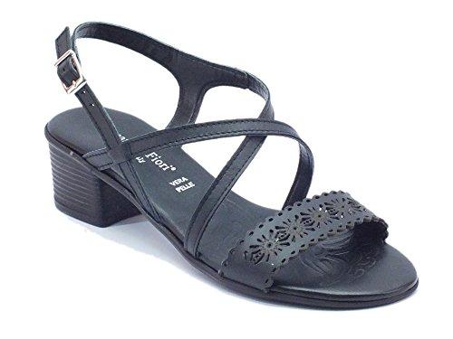 Sandalo Mercante di Fiori per donna in pelle nera tacco basso (Taglia 39)