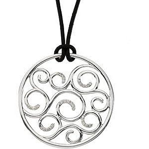 Genuine IceCarats Designer Jewelry Gift Sterling Silver Diamond Pendant On 18