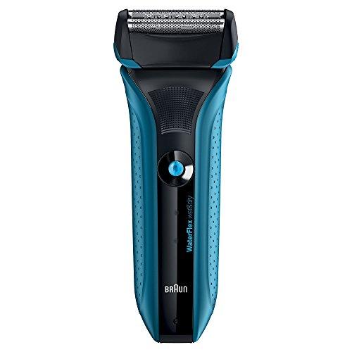 Braun WaterFlex WF2s Wet&Dry Rasoio Elettrico da Barba per Uomo con Testina Flessibile, Blu