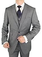 Bianco B Men's Suit 3 Piece Vested Suit Ticket Pocket Jacket Vest & Trousers