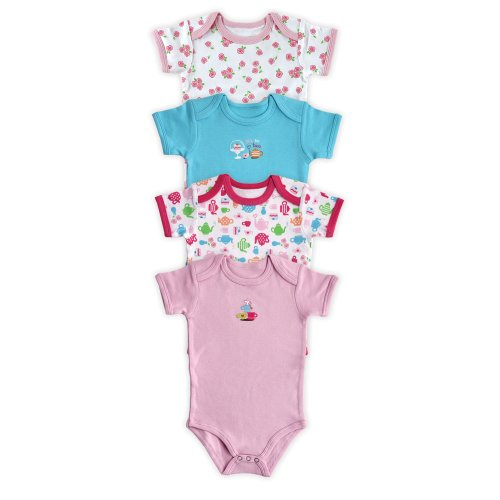 4-Pack Pastel Bodysuits (0-3 Months, Dark Pink) front-844877