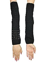 Womens Winter Long Ribbed Knit Thermal Arm Warmers with Metal Studs one size Black