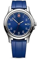 Victorinox Swiss Army Garrison Elegance Date Watch 40mm Case Blue Dial and Rubber Sport Strap 26068.CB