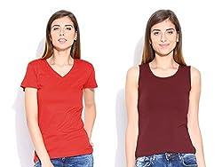 Happy Hippie Women's Combo T-shirt Red-Maroon