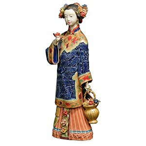 Chinese Porcelain Doll - Collecting Flowers