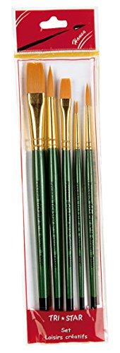 tristar-lot-de-5-pinceaux-synthetiques-ronds-plats-manche-vert