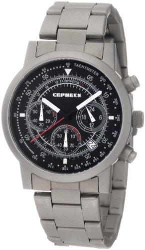 CEPHEUS CP504-121 - Reloj de caballero de cuarzo, correa de acero inoxidable color gris