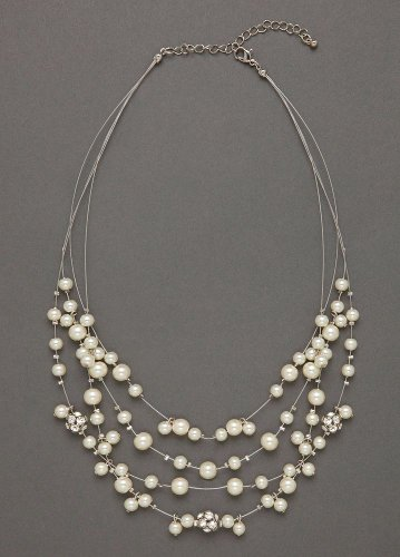 David's Bridal Pearl Illusion Necklace Style P10552N01, Silver