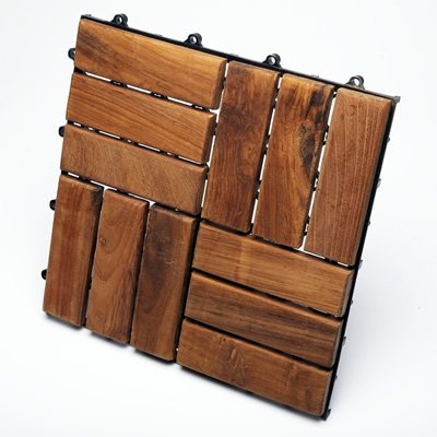 Le Click Interlocking Teak Flooring Tiles - Oiled Finsh