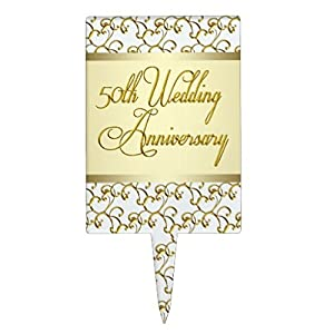 50th Wedding Anniversary Gold Cake Topper
