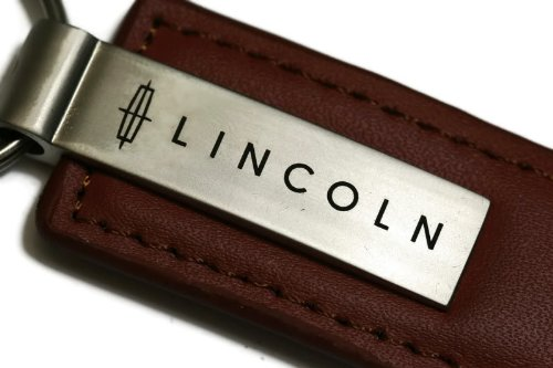 Lincoln Brown Leather Key Fob Authentic Logo Key Chain Key Ring Keychain Lanyard (Lincoln Auto Apparel compare prices)
