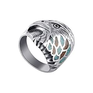 Turquoise Coral Gemstone Sterling Silver Eagle Ring