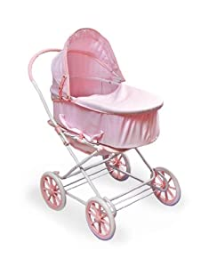 Badger Basket Gingham 3-in-1 Doll Pram Carrier And Stroller - Pink/White