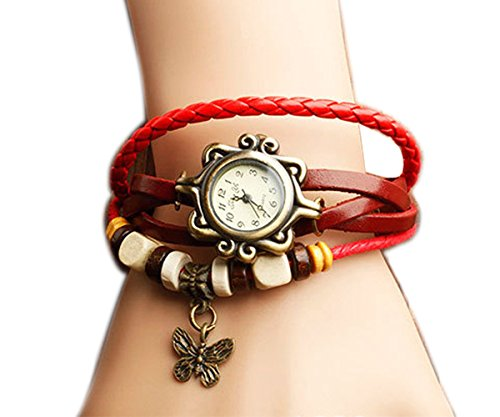 Ppperson Fashion Butterfly Pendant Quartz Retro Weave Wrap Around Leather Bracelet Lady Woman Wrist Watch