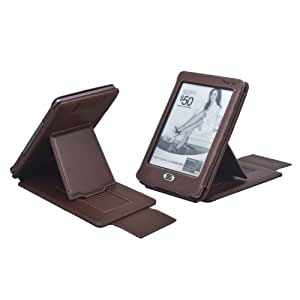 TeckNet@ Kindle Paperwhite / kindle Touch Leather Cover / Case With Extra-Strong Adjustable Stand For for NEW Kindle Paperwhite & kindle Touch Both - Brown
