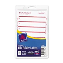Avery File Folder Labels for Laser and Inkjet Printers, 1/3 Cut, Red, Pack of 252 (05201)