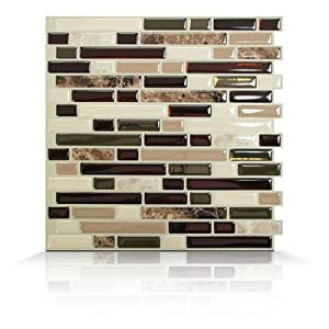 Backsplashes: Smart Tiles Building Materials 10.13 in. x 10 in. Peel and Stick Mosaic Decorative Wall Tile in Bellagio (6-Pack) Browns / Tans SM1034-6