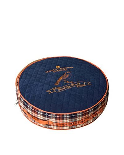 Touchdog Bark-Royale Posh Round Designer Fleece & Plaid Dog Bed