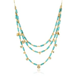 Long 3 Row Turqoise Colored Stone and Goldtone Discs and Beaded Necklace, 30