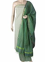 Handloom Gold Stripe Cotton Dress Material with Dupatta