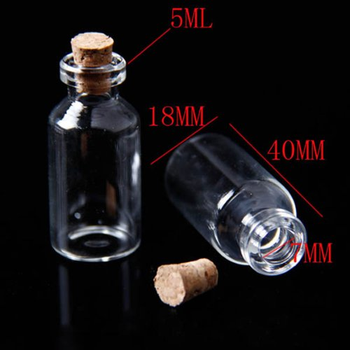 Small Mini Glass bottles Jars with Cork Stoppers/ Message Weddings Wish Jewelry Party Favors 5ml-18(Dia.)*40 mm-20pcs (20 Small Glass Jars compare prices)