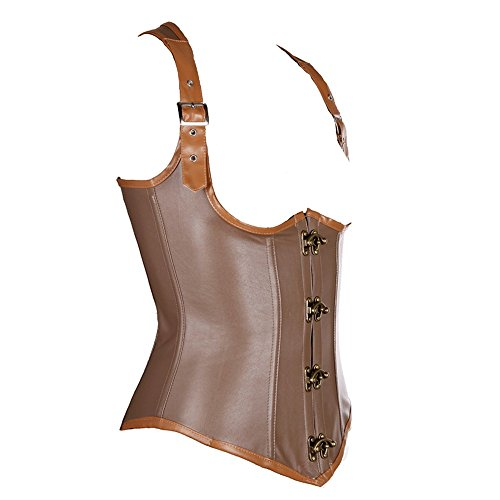 Beauty-You-Womens-Gothic-Steampunk-Underbust-Corset-Vest-Faux-Leather-Clubwear
